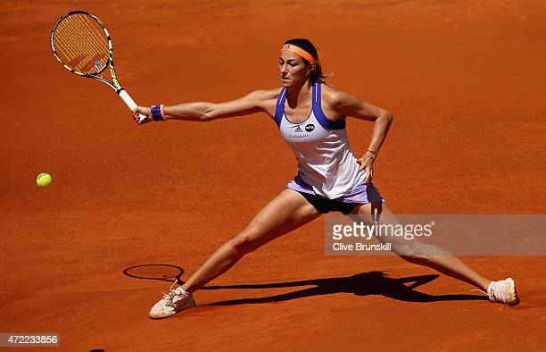 Mariana DuqueMarino of Colombia plays a forehand against Maria Sharapova of Russia in their second round match during day four of the Mutua Madrid...