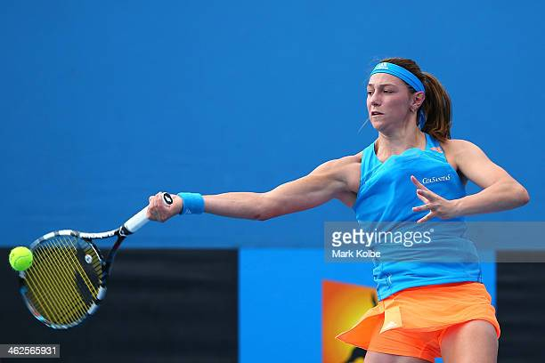 Mariana DuqueMarino of Colombia plays a forehand in her first round match against Olivia Rogowska of Australia during day two of the 2014 Australian...