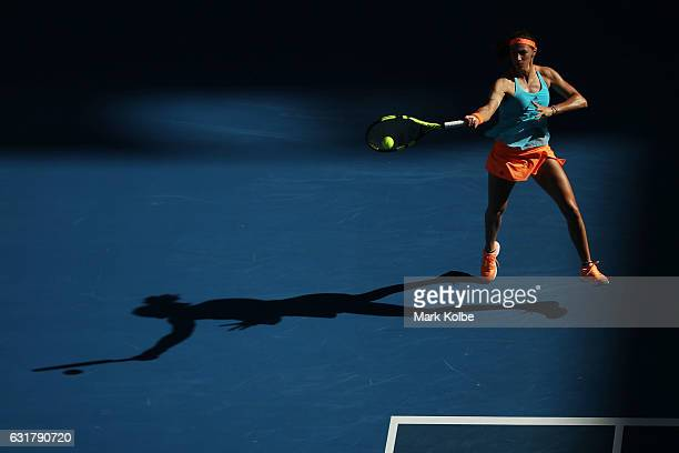 Mariana DuqueMarino of Colombia plays a forehand in her first round match against Svetlana Kuznetsova of Russia on day one of the 2017 Australian...