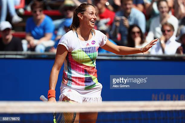 Mariana DuqueMarino of Colombia reacts during her singles final match against Kiki Bertens of Netherlands on day eight of the Nuernberger...