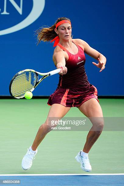Mariana DuqueMarino of Colombia returns a shot to Roberta Vinci of Italy during their Women's Singles Third Round match on Day Five of the 2015 US...