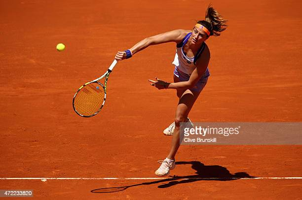 Mariana DuqueMarino of Colombia serves against Maria Sharapova of Russia in their second round match during day four of the Mutua Madrid Open tennis...