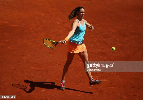 Mariana DuqueMarino of Columbia in action against Samantha Stosur of Australia during day four of the Mutua Madrid Open tennis at La Caja Magica on...