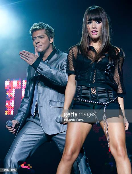 Mariana Esposito and Gaston Dalmau of the Argentinian group Teen Angels perform at the Vistaalegre bullring on March 26 2010 in Madrid Spain
