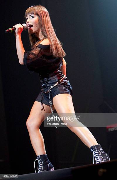 Mariana Esposito 'Mar' of the Argentinian group Teen Angels performs at the Vistaalegre bullring on March 26 2010 in Madrid Spain