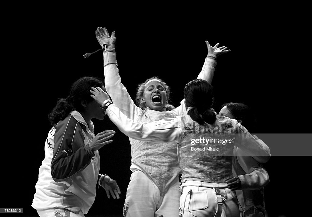 Mariana Gonzalez of Venezula celebrates her team's victory over Canada in the Gold Medal Final of the Women's Team Foil during the XV Pan American Games on July 20, 2007 at Riocentro Pavilhao in Rio De Janeiro, Brazil.
