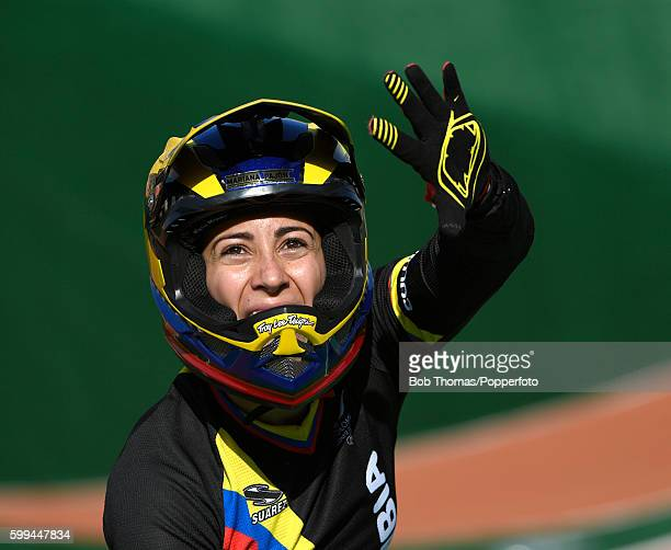 Mariana Pajon of Colombia celebrates after winning the gold in the Women's Final on day 14 of the Rio 2016 Olympic Games at the Olympic BMX Centre on...