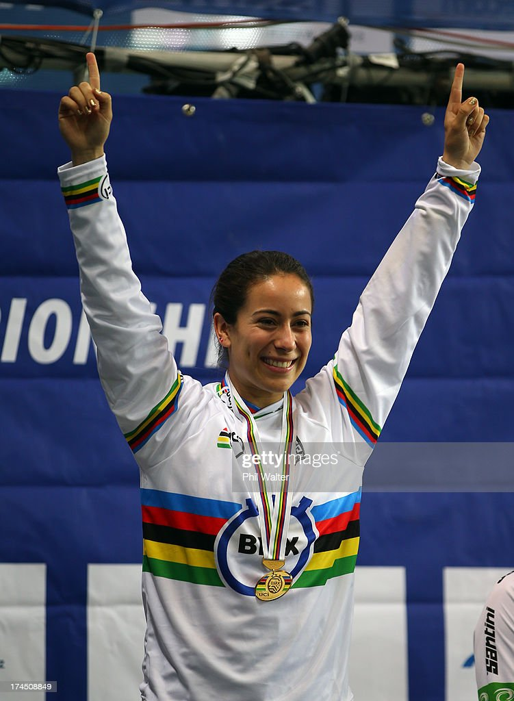 Mariana Pajon of Colombia celebrates winning the Elite Womens Time Trial during day four of the UCI BMX World Championships at Vector Arena on July 27, 2013 in Auckland, New Zealand.