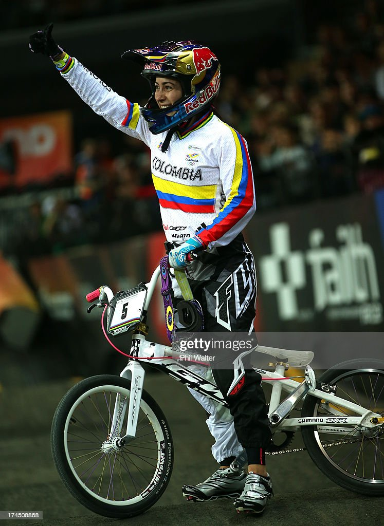 <a gi-track='captionPersonalityLinkClicked' href=/galleries/search?phrase=Mariana+Pajon&family=editorial&specificpeople=5998935 ng-click='$event.stopPropagation()'>Mariana Pajon</a> of Colombia celebrates winning the Elite Womens Time Trial during day four of the UCI BMX World Championships at Vector Arena on July 27, 2013 in Auckland, New Zealand.