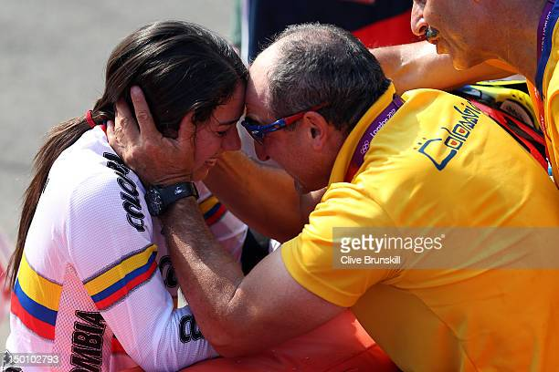 Mariana Pajon of Colombia celebrates winning the Gold medal in the Women's BMX Cycling Final on Day 14 of the London 2012 Olympic Games at the BMX...