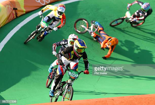 Mariana Pajon of Colombia competes during the Women's BMX Final on day 14 of the Rio 2016 Olympic Games at the Olympic BMX Centre on August 19 2016...