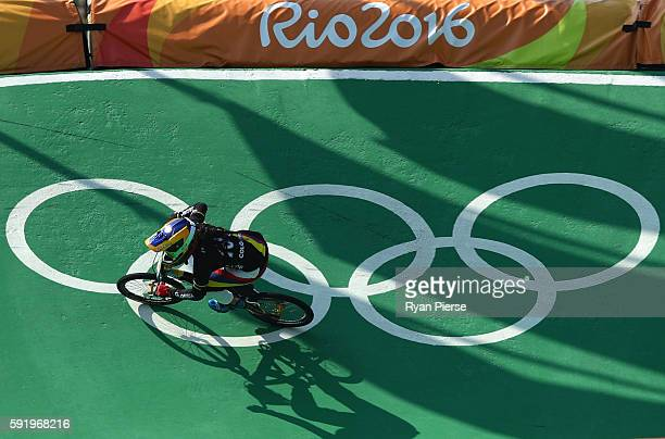 Mariana Pajon of Colombia competes during the Women's Semi Finals on day 14 of the Rio 2016 Olympic Games at the Olympic BMX Centre on August 19 2016...