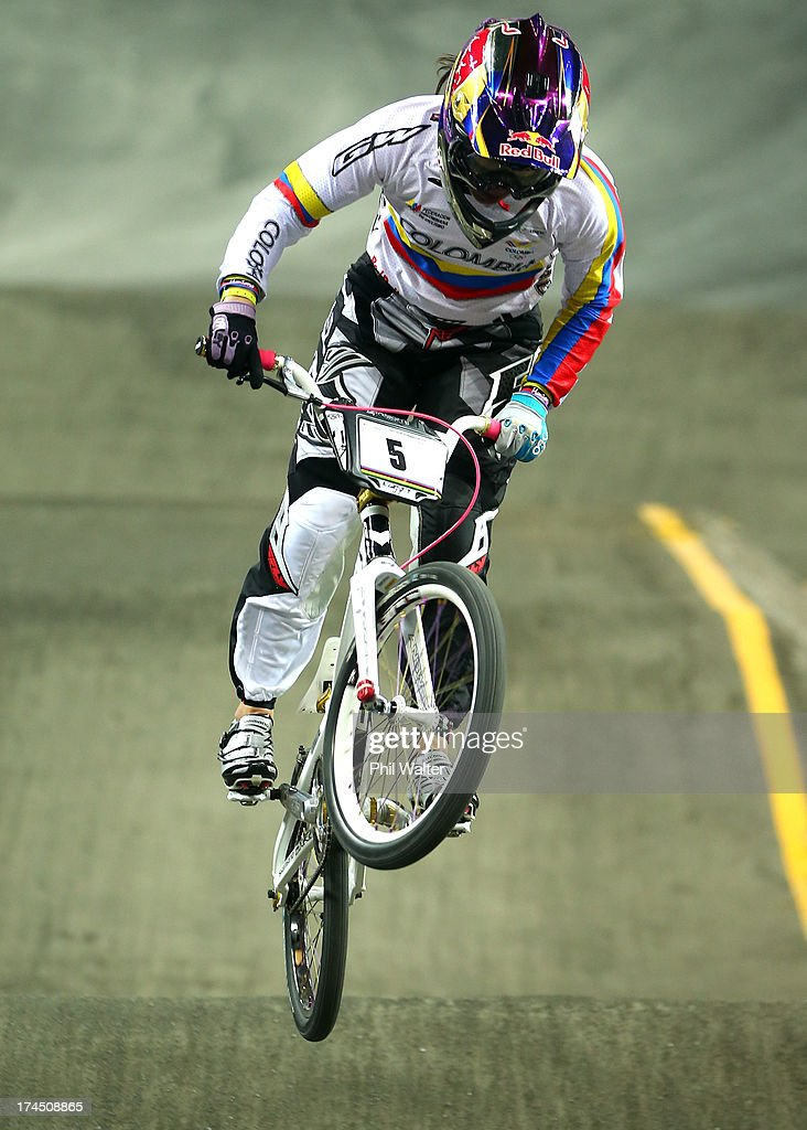 Mariana Pajon of Colombia competes in the Elite Womens Time Trial during day four of the UCI BMX World Championships at Vector Arena on July 27, 2013 in Auckland, New Zealand.