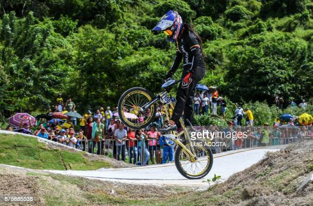 Mariana Pajon of Colombia competes in the women's BMX 20in final during the XVIII Bolivarian Games 2017 in Santa Marta Colombia on November 18 2017 /...