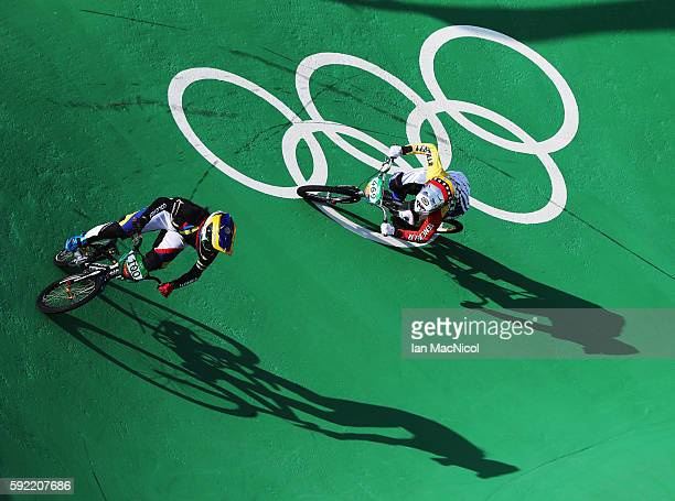Mariana Pajon of Colombia competes in the Women's BMX final during day 14 at Olympic BMX Centre on August 19 2016 in Rio de Janeiro Brazil