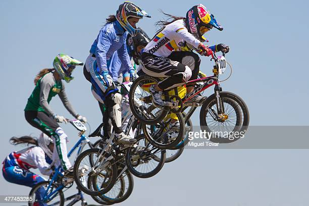 Mariana Pajon of Colombia leads in women's BMX final event during day three of the X South American Games Santiago 2014 at Pista BMX Santiago 2014 on...