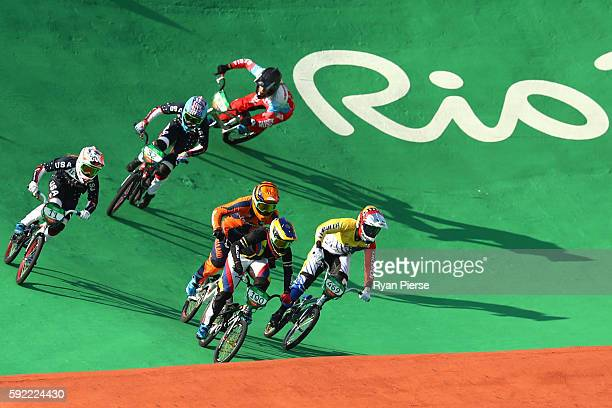 Mariana Pajon of Colombia leads the pack during the Women's BMX Final on day 14 of the Rio 2016 Olympic Games at the Olympic BMX Centre on August 19...