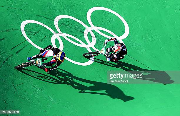 Mariana Pajon of Colombia leads the way in the Women's BMX final during day 14 at Olympic BMX Centre on August 19 2016 in Rio de Janeiro Brazil