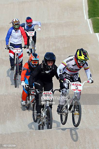 Mariana Pajon of Colombia races ahead of Sarah Walker of New Zealand in the Women's BMX Cycling Final on Day 14 of the London 2012 Olympic Games at...