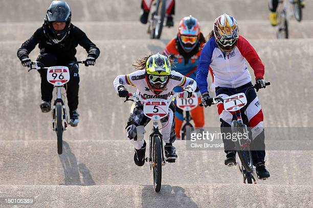 Mariana Pajon of Colombia races over a jump in the Women's BMX Cycling Semi Finals on Day 14 of the London 2012 Olympic Games at the BMX Track on...