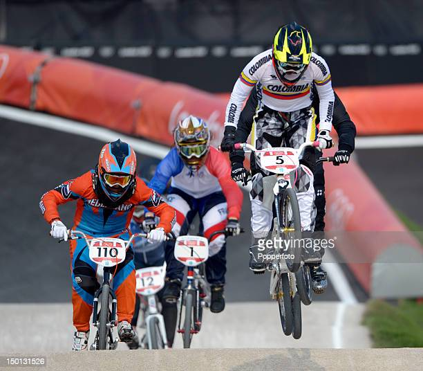 Mariana Pajon of Colombia rides through a jump on her way to winning the Gold medal in the Women's BMX Cycling Final on Day 14 of the London 2012...