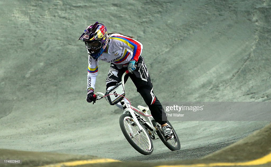 Mariana Pajon of Colomdia competes in the Elite Womens Time Trial during day four of the UCI BMX World Championships at Vector Arena on July 27, 2013 in Auckland, New Zealand.