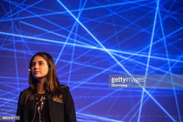 Mariana Vasconcellos chief executive officer of Agrosmart pauses while speaking during the Global Agribusiness Forum in Sao Paulo Brazil on Wednesday...