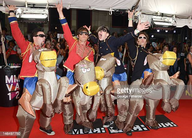 Marianas Trench arrive at the 2012 MuchMusic Video Awards at MuchMusic HQ on June 17 2012 in Toronto Canada
