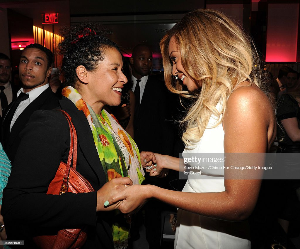 <a gi-track='captionPersonalityLinkClicked' href=/galleries/search?phrase=Mariane+Pearl&family=editorial&specificpeople=2607556 ng-click='$event.stopPropagation()'>Mariane Pearl</a> and Beyonce attend the CHIME FOR CHANGE One-Year Anniversary Event hosted by Gucci Creative Director Frida Giannini and T Magazine Editor-In-Chief Deborah Needleman at Gucci Fifth Avenue on June 3, 2014 in New York City.