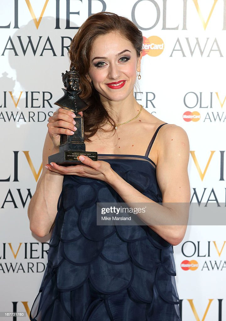 Marianela Nunez poses in the press room at The Laurence Olivier Awards at The Royal Opera House on April 28, 2013 in London, England.