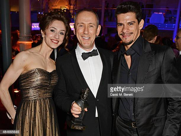 Marianela Nunez SIr Nicholas Hytner and Thiago Soares attend an after party following the Laurence Olivier Awards at The Royal Opera House on April...
