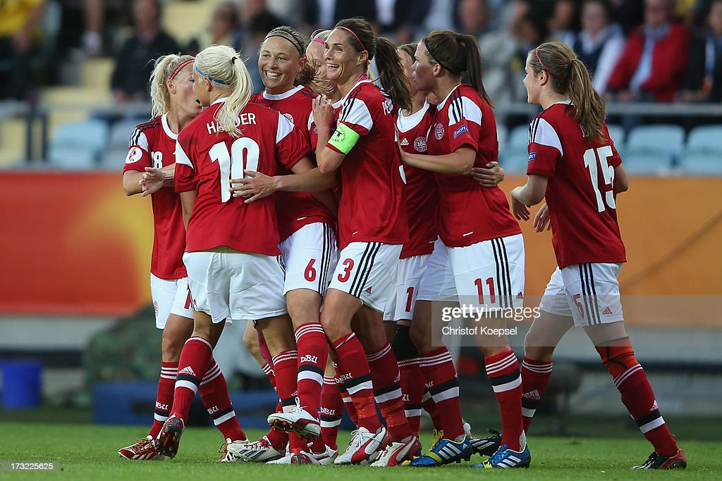 Mariann Knudsen of Denmark (3rd L) celebrates the first goal with team mates during the UEFA Women's EURO 2013 Group A match between Sweden and Denmark at Gamla Ullevi Stadium on July 10, 2013 in Gothenburg, Sweden.