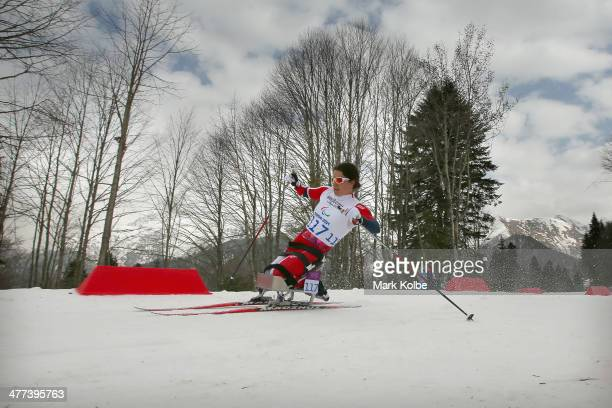 Mariann Marthisen of Norway competes in the women's 12km sitting crosscountry skiing during day two of Sochi 2014 Paralympic Winter Games at Laura...