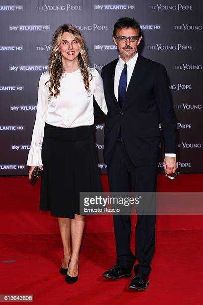 Marianna Madia and Mario Gianani walk the red carpet at 'The Young Pope' premiere at The Space Cinema on October 9 2016 in Rome Italy