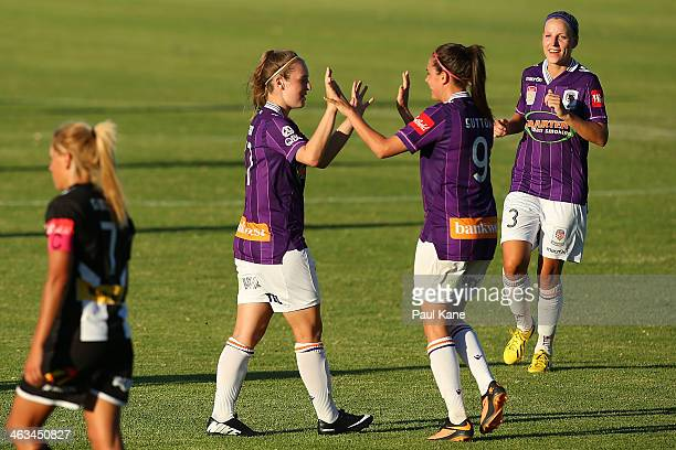 Marianna Tabain and Rosie Sutton of the Glory celebrate a goal during the round nine WLeague match between the Perth Glory and the Newcastle Jets at...