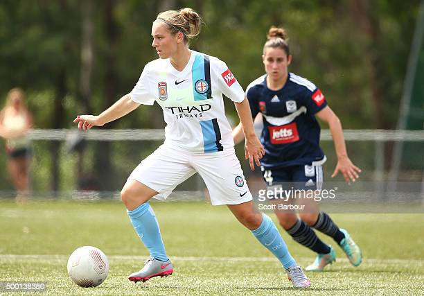Marianna Tabain of City controls the ball during the round eight WLeague match between the Melbourne Victory and Melbourne City FC at Veneto Club on...