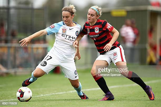 Marianna Tabain of Melbourne City and Ellie Carpenter of the Wanderers contest the ball during the round seven WLeague match between the Western...
