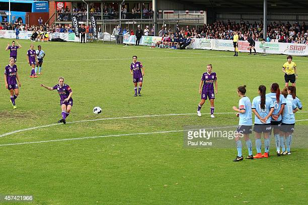 Marianna Tabain of the Glory kicks on goal during the round six WLeague match between the Perth Glory and Sydney FC at Ashfield Sports Club on...
