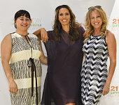 Marianna Zimmerman author/celebrity yogiÊRainbeau Mars and Lisa Twyman attend Rainbeau Mars E Book Brunch Celebration on July 22 2016 in Beverly...
