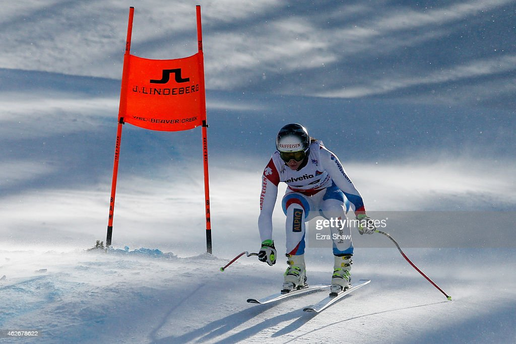 Marianne Abderhalden of Switzerland practices during Ladies' Downhill Training on the Raptor course on Day 1 of the 2015 FIS Alpine World Ski Championships on February 2, 2015 in Beaver Creek, Colorado.