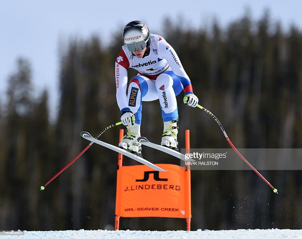 Marianne Abderhalden of Switzerland races down the course during the 2015 World Alpine Ski Championships women's downhill training February 5, 2015 in Beaver Creek, Colorado.
