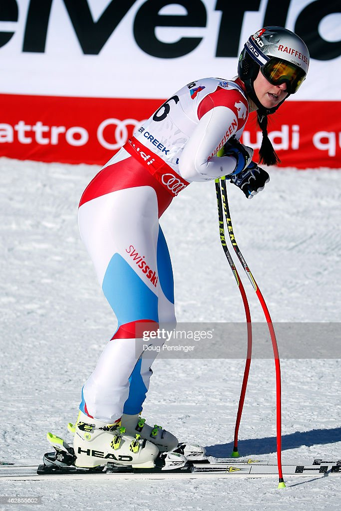 Marianne Abderhalden of Switzerland reacts after crossing the finish of the Ladies' Downhill in Red Tail Stadium on Day 5 of the 2015 FIS Alpine World Ski Championships on February 6, 2015 in Beaver Creek, Colorado.