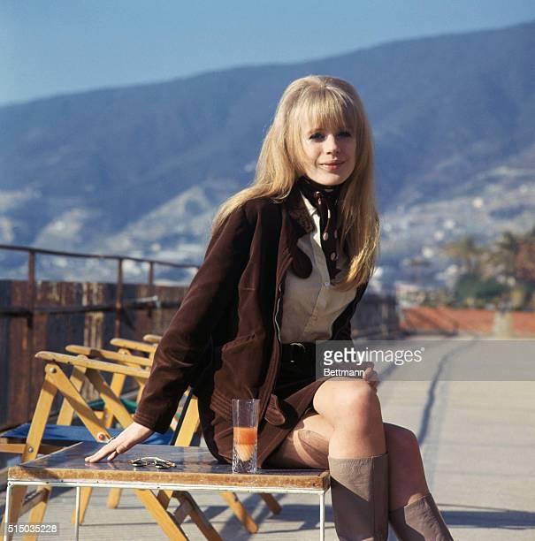 1/28/1967 Marianne Faithfull British singer on board ship for wedding of singer Gene Pitney