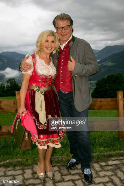 Marianne Hartl and Adolf Michael Hartl during the 14th Almrauschparty at Rosi's Sonnbergstuben on August 4 2017 in Kitzbuehel Austria