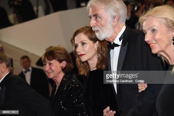 Marianne Hoepfner Isabelle Huppert Michael Haneke and Susi Haneke attend the 'Happy End' premiere during the 70th annual Cannes Film Festival at...