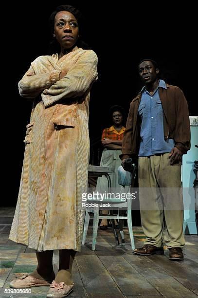Marianne JeanBaptiste as Margaret Alexander Sharon D Clarke as Odessa and Eric Kofi Abrefa as David in James Baldwin's The Amen Corner directed by...