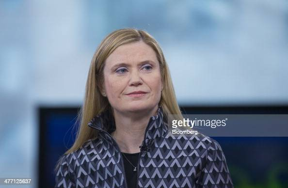 Marianne Lake chief financial officer of JPMorgan Chase Co listens during a Bloomberg Television interview in New York US on Friday March 7 2014 Lake...