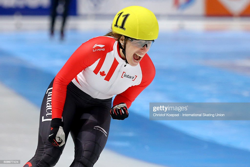 <a gi-track='captionPersonalityLinkClicked' href=/galleries/search?phrase=Marianne+St-Gelais&family=editorial&specificpeople=5579569 ng-click='$event.stopPropagation()'>Marianne St-Gelais</a> of Canada celebrates her victory during the ladies 1500m final A during Day 2 of ISU Short Track World Cup at Sportboulevard on February 13, 2016 in Dordrecht, Netherlands.