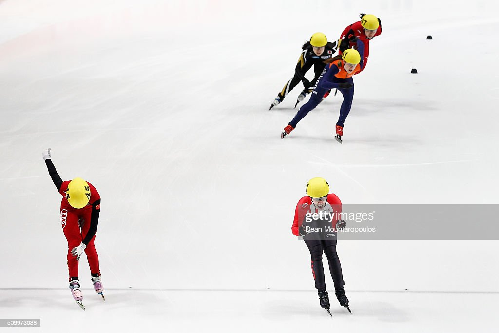 <a gi-track='captionPersonalityLinkClicked' href=/galleries/search?phrase=Marianne+St-Gelais&family=editorial&specificpeople=5579569 ng-click='$event.stopPropagation()'>Marianne St-Gelais</a> of Canada crosses the finish line and celebrates winning the Gold medal in the 1500m Womens Final during ISU Short Track Speed Skating World Cup held at The Sportboulevard on February 13, 2016 in Dordrecht, Netherlands. Yihan Guo of China (Silver medal) and Suzanne Schulting of the Netherlands (Bronze medal).