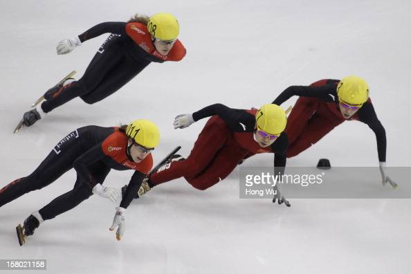 Marianne Stgelais of Canada Jessica Gregg of Canada Meng Wang of China Kexin Fan of China compete in the Women's 500m Final during the day two of the...
